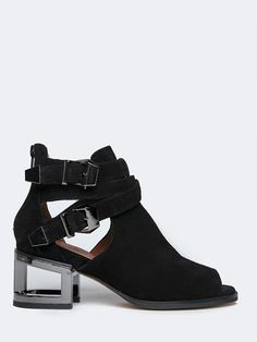 Black booties with an open toe, cut out silver heel and straps with silver detailing. Perfect concert heel. ~ the Jeffrey Campbell Gentry | ZOOJI