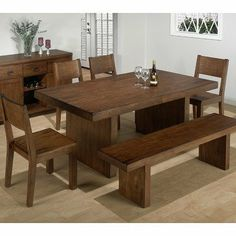 Jofran 252-75 Braeburn Rough Hewn Cherry 6 Piece Bench Dining Room Set by Jofran Inc.. $1284.89. This product is a part of 252 Series. Trestle Table Type. Rectangular Table Shape. Made of Wood. Transitional Style. What is included:Dining Table (1)Side Chair (4)Bench (1) Combining traditional details with modern designs, Jofran has a collection to compliment any home decor. This Braeburn 6 Piece Dining Room Set belongs to 252 Series - Braeburn Rough Hewn Cherry Collec...