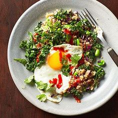 Comfort Food Under 450 Calories: Edamame-and-Kale Fried Quinoa recipe fitm.ag/1hKLmaq