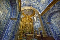 Lawrence Church, Almancil, Portugal - The inside walls of the church are completely covered in azulejo (Portuguese blue tiles) telling the story of St. Lawrence of Rome. It was built in the century. Algarve, Religious Architecture, Architecture Design, Sea Activities, Glazed Ceramic Tile, Portuguese Tiles, Spain And Portugal, Tile Art, Kirchen