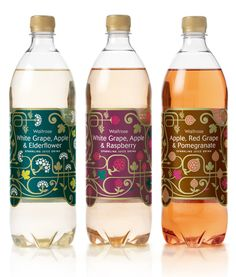 WONDERFULL Waitrose Sparkling Juice Packaging by Darren Whittington.  Love the little popping juice bubbles.                                                                                                                                                                                 More