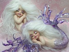 OOAK art doll fantasy mermaid baby polymer clay sculpture fairy IADR handmade.