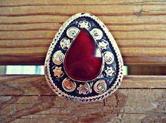 Drop shaped Afghan Aqeeq Kuchi Ring.Handcarved Turkmen ring. Gypsy Boho Ring.Afghan Turkmen ethnic jewelry
