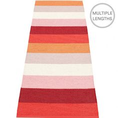 The Pappelina sunset Molly runner embraces a striped design in hot hues, perfect when you want to add a splash of colour in a room.  Woven from soft plastic using traditional Swedish techniques, Pappelina rugs can be used in all areas of the home.  They are reversible, dust and dirt repellent, and fully washable, although a quick vacuum is probably all they will ever need to keep them looking good as new.