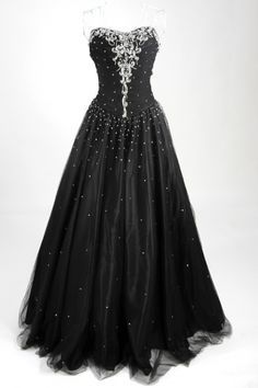 Black Ball gown with ornaments of sequins [PPBE0740] - PersunMall.com