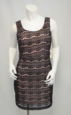 bce4654fc78ada NEW Forever 21 Black Crochet Lace Over Pink Sleeveless Tank Dress Medium M  NWT!