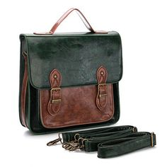 Dark Green Batchel Backpack with Contrast Trims and Magnetic Closure