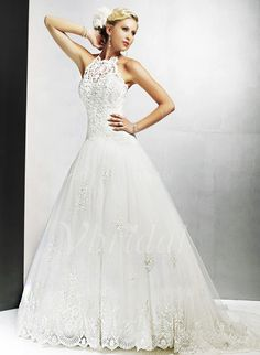 Wedding Dresses - $286.99 - A-Line/Princess Halter Chapel Train Tulle Lace Wedding Dress With Beading Sequins (00205000098)