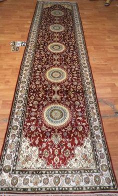 3'x12' Runner Hand-knotted 200 kpsi Silk Oriental Persian Tabriz Rug 9544