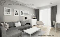 Projekt salonu Inventive Interiors - pokój dzienny w szarości