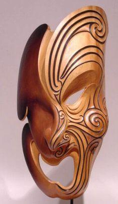 Maori inspired mask sculpture Tree Carving, Wood Carving, Soapstone Carving, Polynesian Art, Maori Designs, Tiki Art, New Zealand Art, Nz Art, Maori Art