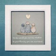 Gifts For Mum, New Baby Gifts, Special Gifts, Bespoke, Family Tree With Pictures, Pebble Art Family, Deep Box Frames, Pebble Pictures, Wedding Gifts
