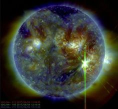 A massive, X9.3-class solar flare blasted from the sun at 8:02 a.m. EDT (1202 GMT).