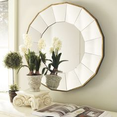 3 of these Ballard Design Mirrors behind sofa over the sofa table.