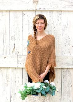 Flower Power Poncho  Brown knit embellished poncho  by wearlovenow, $46.00 #festival fashion, #upcycled, #brown poncho, #hippie, #boho chic, #ecofashion