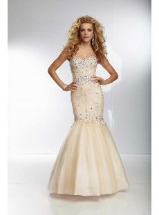 Sweetheart Sweep Train Champagne Tulle Trumpet Mermaid Prom Dress