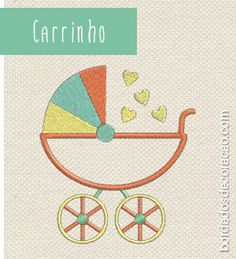 Matrizes de bordados grátis - Chá de Bebê | Bordados de Coração