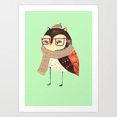 Smart Owl Art Print by Ashley Percival Illustrator | Society6