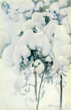 Snow-Covered Pine Seedlings, 1899 by Pekka Halonen (Finnish, Old Paintings, Nature Paintings, Landscape Paintings, Landscapes, Weather Art, Winter Trees, Winter Snow, Snowy Day, Art Archive