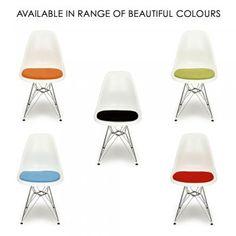 Eames Style White DSR Eiffel Chair (Black Legs) Chair is £40. Orange Seat pad is £14.99. Cultfurniture.com