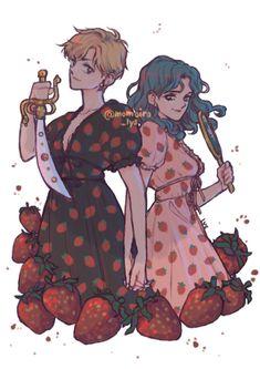 Sailor Uranus, Sailor Neptune, Sailor Moon Art, Cristal Sailor Moon, Sailor Moon Crystal, Lesbian Art, Gay Art, Studio Ghibli, Strawberry Dress