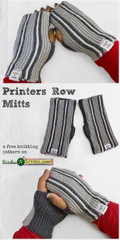 Printers Row Mitts - A free knitting pattern on StitchesNScraps.com