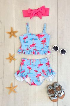 Flamingo High-Waisted Swimsuit Set - Sparkle In Pink Flamingo Suit, Pink Flamingos, Little Girl Outfits, Cute Outfits For Kids, Flamingo Birthday, Swimsuits, Bikinis, Kids Swimwear, Cute Baby Clothes
