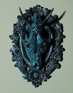 """Sven"" - canine skull, clay, mixed media | 13"" x 9"" x 5"", 2011 by Chris Haas"