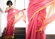 Cotton Sarees - Handloom Rose And Yellow By Suta - PC - 15627 - Main
