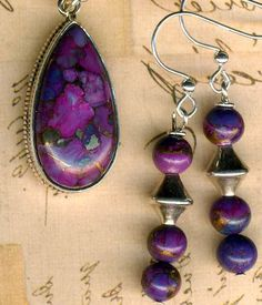 378 best purple turquoise jewelry images on pinterest turquoise mojave kingman purple turquoise pendant matching earringsbronze infused aloadofball Gallery