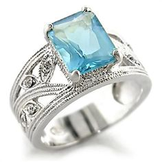Silver Aquamarine Topaz Cocktail Ring Aqua Blue Cubic Zirconia Leaves Size 9 USA #Unbranded #Cocktail