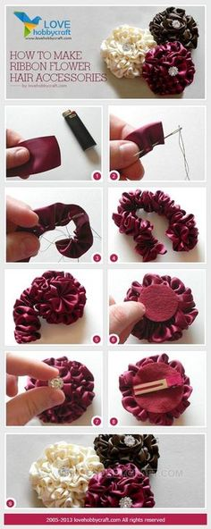 How To Make Ribbon Flower Hair AccessoriesDiscover thousands of images about DIY Tutorial DIY Ribbon Crafts / DIY Ribbon Accessories - Bead&CordThis would look amazing with Darn Good Yarn\'s Sari Ribbons store. Red, White, and Blue Hair bow perfect for ev Ribbon Art, Diy Ribbon, Ribbon Crafts, Flower Crafts, Ribbon Bows, Satin Ribbon Flowers, Hair Ribbons, Felt Flowers, Flowers In Hair