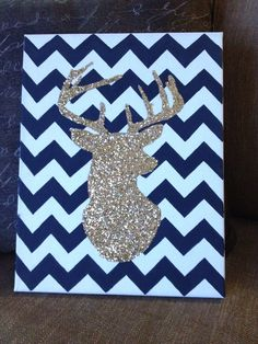 #deerhead #canvas #crafts  Canvas from hobby lobby- painted dark grey stripes and then outlined a silhouette of a deer head. Then added glitter! Love how it turned out and it was super easy!