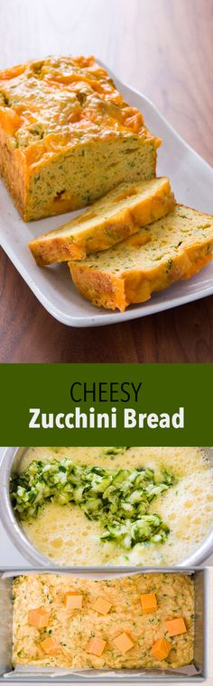 Easy, moist and tender zucchini bread with a herbs and big savory pockets of cheese.