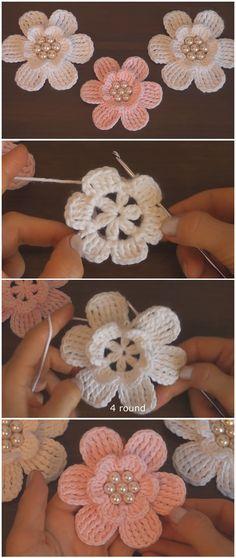 Learn To Crochet Easy Flowers – Crochet Ideas Learn to crochet simple flowers Crochet Motifs, Crochet Flower Patterns, Flower Applique, Crochet Flowers, Knitting Patterns, Knitting Yarn, Scarf Crochet, Afghan Patterns, Amigurumi Patterns