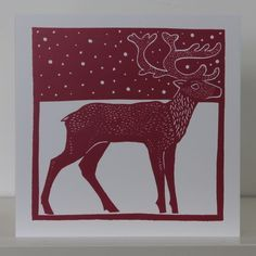 linocut christmas card reindeer - Google Search