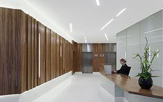 Back painted glass lobby Back Painted Glass, Wall Finishes, Office Interiors, Glass Panels, Signage, Condo, Lighting, Architecture, Feature Walls
