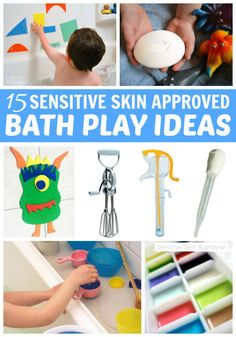 Have a toddler with sensitive skin? Hesitant to try bath play recipes because of it? Fear no more! Try one of these fun bath activities for toddlers! Learning Toys For Toddlers, Fun Crafts For Kids, Craft Activities For Kids, Sensory Activities, Infant Activities, Kids Playing, Sensory Play, Kid Crafts, Activity Ideas