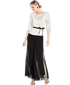 Alex Evenings Lace Top & Wide-Leg Chiffon Pants