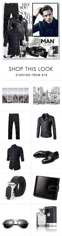 """""""Newchic"""" by asia-12 ❤ liked on Polyvore featuring Art Addiction, Bulgari, men's fashion, menswear and newchic"""
