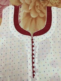 30 Stylish Potli button neck designs for kurtis and salwar suits Chudithar Neck Designs, Neck Designs For Suits, Sleeves Designs For Dresses, Neckline Designs, Dress Neck Designs, Stylish Dress Designs, Sleeve Designs, Churidhar Designs, Salwar Suit Neck Designs