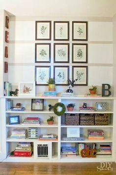 Painter's tape ideas. Bookshelf built in.