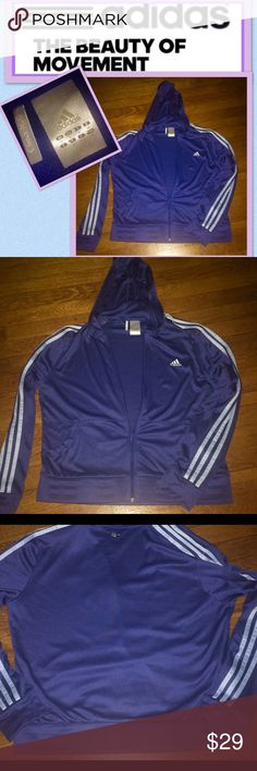 """ADIDAS 365 CLIMA💜TRACK JACKET🤾🏼♀️ ADIDAS CLIMA 365 HOODED 🤽🏻♀️🧘🏼♀️🤾🏼♀️💙TRACK JACKET... WOMEN'S SIZE LARGE...JUST LIKE NEW😘I ONLY WORE ONCE THEN IN THE CLOSET IT WENT💜COLOR IS A DARKER BLUE W/A BABY BLUE SLEEVE STRIPING😍HAS TWO FRONT """"DOUBLE POCKETS"""" A SMALLER POCKET IN EACH OF THE FRONT DEEP POCKETS😘💙HAS A BLUE FRINT ZIP W/ADIDAS LOGO ZIPPER PULL☺️REALLY COOL ADIDAS TRACK JACKET...☺️💙😘👍🏻 adidas Jackets & Coats"""