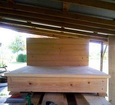 Cypress platform bed with storage underneath