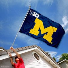Michigan Wolverines UM University Large College Flag by College Flags and Banners Co.. $29.95. Our Michigan Wolverines Big 10 Flag measures 3x5 feet in size, has quadruple-stitched fly ends, is made of durable polyester, and has two metal grommets for attaching to your flagpole. The screen printed University of Michigan logos are Officially Licensed and Approved by University of Michigan and are viewable from both sides with the opposite side being a reverse image.. Save 25%!