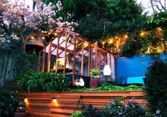 Garden - Amazing Backyard Designs Of Home With Wooden Garage And Lounge Covered By Wooden Frame And White Awning: Awesome Backyard Designs Ideas for Relaxing Living Space Concept