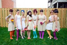 bridesmaids in coloured tights - cute idea! http://www.loveandlavender.com/wp-content/uploads/2011/06/coloredtights.jpg