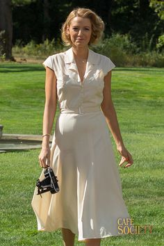 Looking for the ultimate summer dress with a vintage twist? Take inspiration from this white collar midi dress worn by Veronica (Blake Lively), who perfects day time look effortlessly. Don't forget to accessorise with a vintage style bag to finish off your look.                                  Café Society is in cinemas September 2