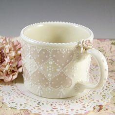 Double Heart Lace Mug by RomancingTheTeapot on Etsy, $29.95