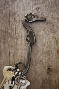 Forged Brazeal-inspired seahorse keychain